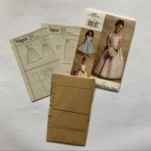 2/$20 NWT Vogue Girls Dress Pattern 7681 Size 2-5